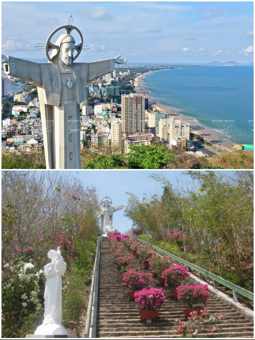 Чтобы добраться до самой большой статуи Иисуса Христа в Азии нужно преодолеть 811 ступеней (Вунг Тау, Вьетнам). | Фото: keytoway.ru/ vietnam.vnanet.vn.