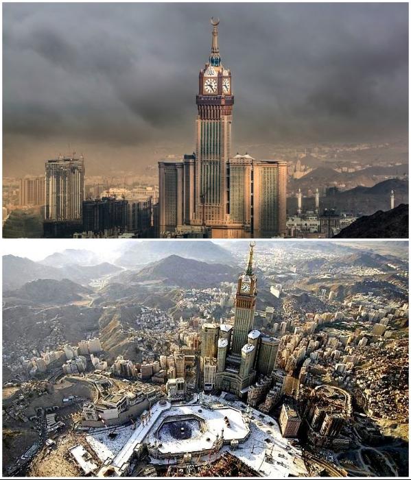 Королевская Часовая башня Мекки имеет самый большой в мире циферблат и является третьим по высоте зданием. | Фото: researchgate.net/ designbuild-network.com.