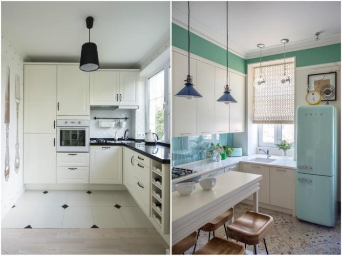 Встроенный в угловой кухонный гарнитур подоконник принесет больше пользы. | Фото: kitchendecorium.ru.