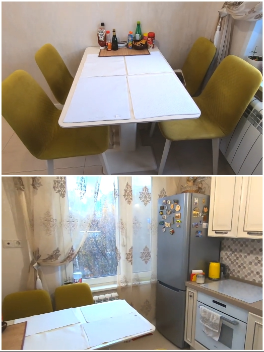 Обеденная группа гармонично вписалась в интерьер обновленной кухни. | Фото: youtube.com/ © Irin Andrez.