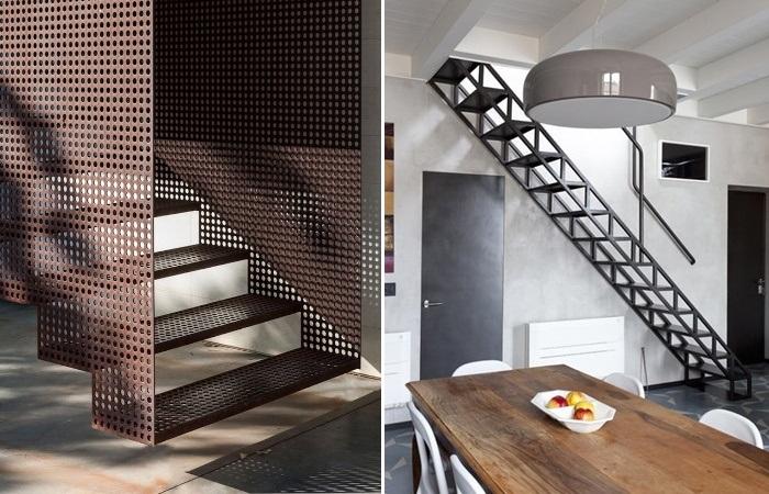 Стальная лестница станет идеальным решением, в интерьере, созданном и в индустриальном стиле. | Фото: pinterest.com.