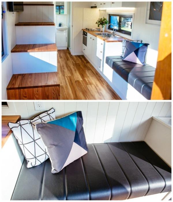 В гостиной поставили небольшой диван, в котором спрятан ящик для хранения. | Фото: designerecotinyhomes.com.au.