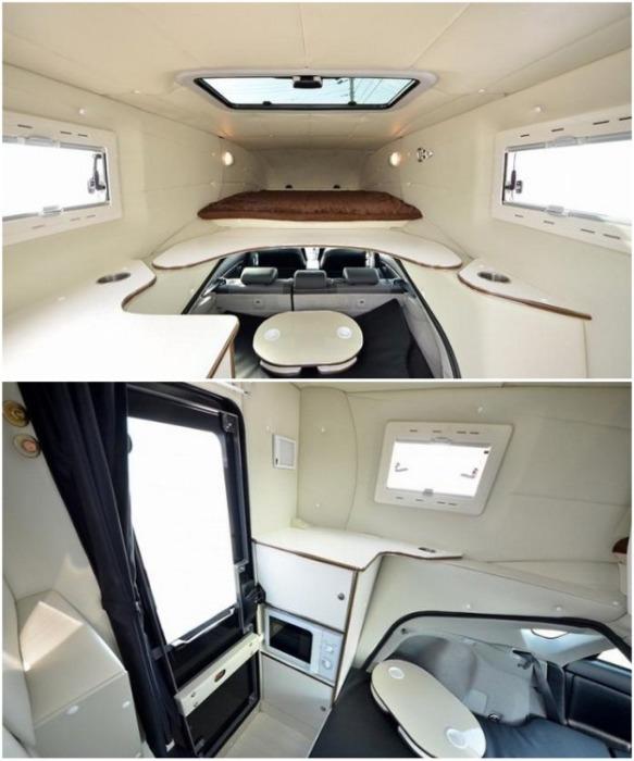 Войдя в салон через заднюю дверь, салон оборудованный всем необходимым для комфортной ночевки на природе (Toyota Prius с надстройкой Relax Cabin). / ribalych.ru.