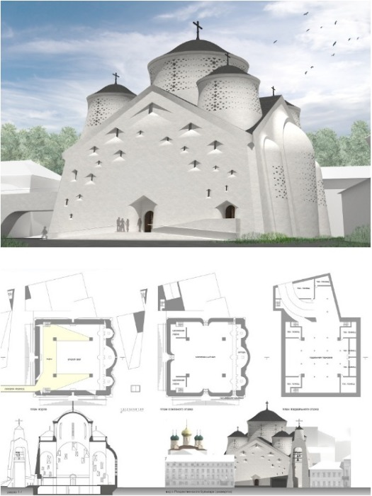 Проект нового собора Сретенского монастыря в Москве. | Фото: simeonn.livejournal.com.