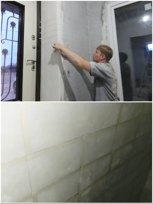 С помощью малярной клеевой ленты сделать сетку нужного размера. | Фото: youtube.com/ © #Твойдом.