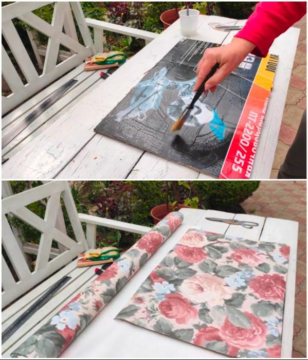 Заднюю стенку можно вырезать из плотного картона и задекорировать красивыми обоями. | Фото: youtube.com/ © Шебби-Шик.