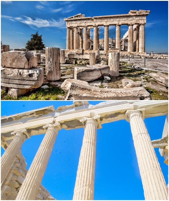 Горизонтальная балка заужена к центру, чтобы компенсировать зрительные иллюзии (Парфенон, Афины).