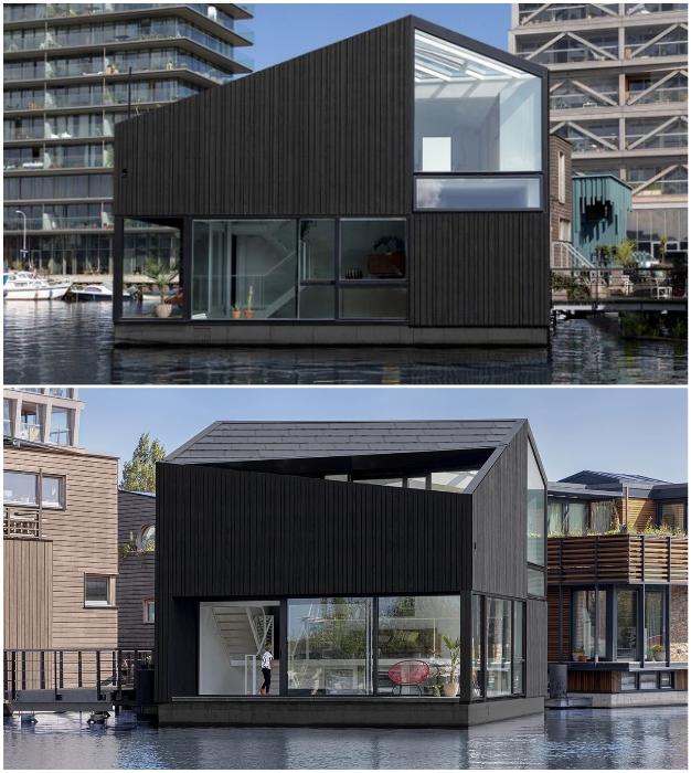Студия i29 Architects создала один из самых впечатляющих домов в плавучем районе Амстердама (Schoonschip, Нидерланды).