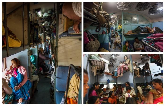 Поездка в плацкартном вагоне (Индия).