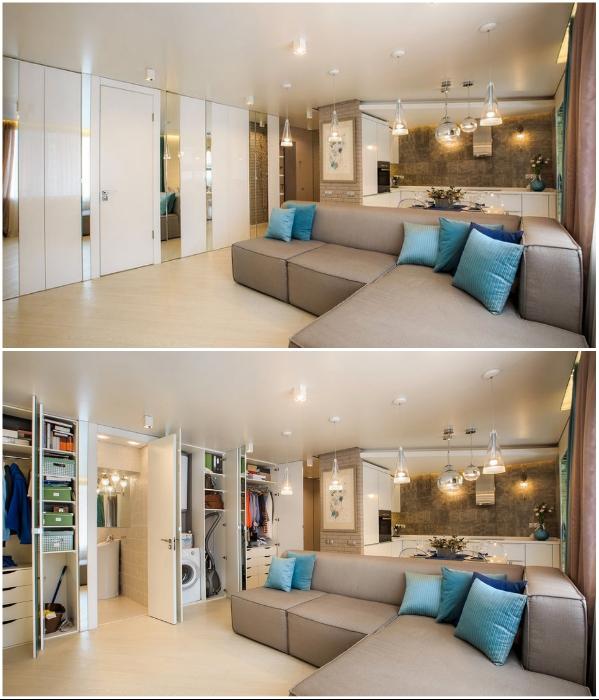 Даже в квартире-студии получится установить шкаф во всю стену, в котором поместится все и даже больше. | Фото: adelaparvu.com.