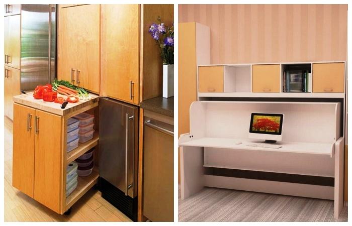 Шкаф может превращаться в рабочую поверхность на кухне или письменный стол в детской комнате