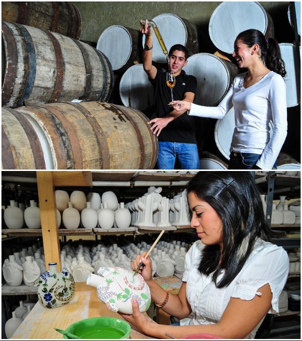 Посетители могут отправиться в подвалы на дегустацию или самостоятельно изготовить керамическую бутылку для текилы («Matices Hotel de Barricas», Мексика).   Фото: tequilacofradia.com.mx.