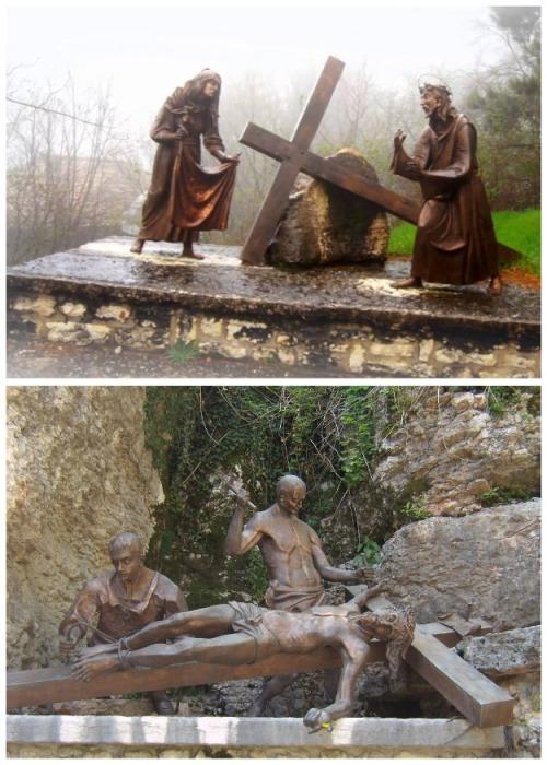 Экспозиция из статуй повествует о пути Христа на Голгофу (Santuario Madonna della Corona). | Фото: yael-shoshany.livejournal.com.