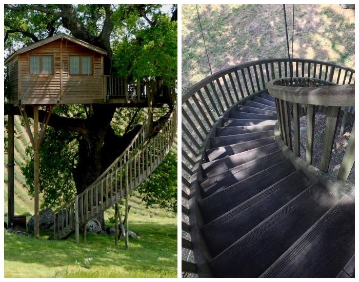 К домику на дереве ведет винтовая лестница (Suite Blue, отель La Piantata). | Фото: badbee.ru