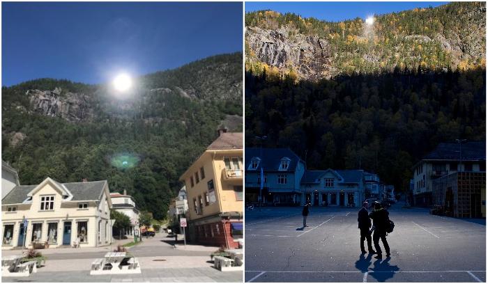 С 2013 г. центральная площадь городка ярко освещается солнцем круглый год (Rjukan, Норвегия). | Фото: atlasobscura.com.