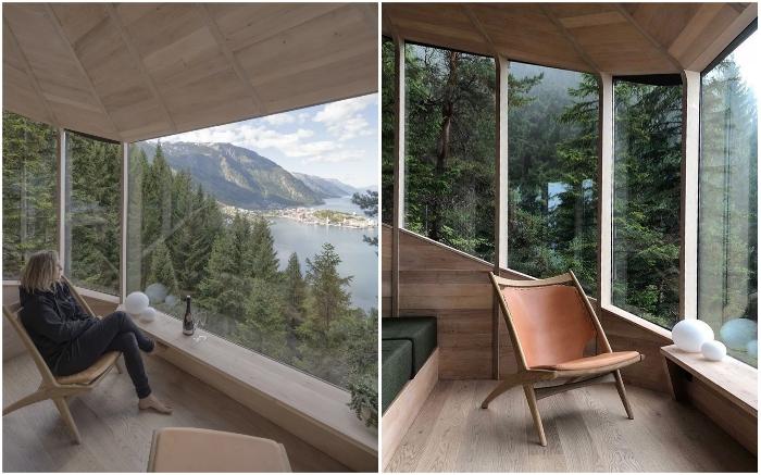 Отдых гостей никто не потревожит, несмотря на огромные видовые окна (Woodnest, Норвегия). © Sindre Ellingsen.