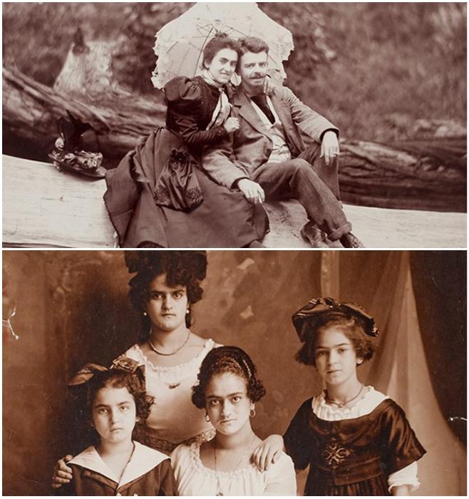 Родители Фриды Кало и ее сестры (Фрида на нижнем снимке справа). | Фото: uznayvse.ru.