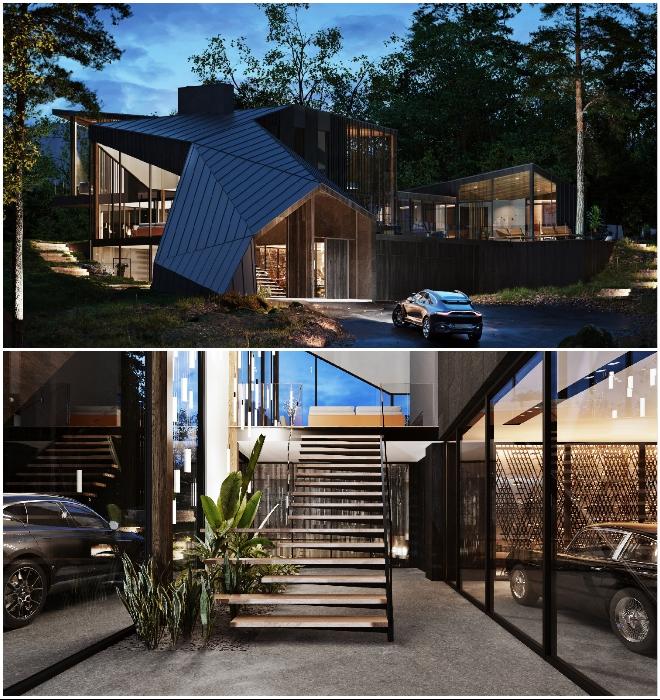 Нестандартная крыша заканчивается сразу над главным входом, ведущим в «галерею автомобилей» (концепт Sylvan Rock).