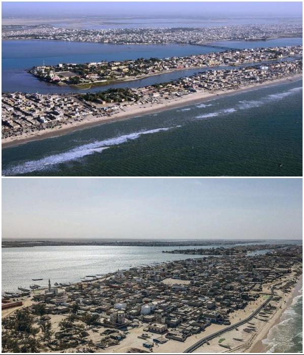 Часть полуострова, на котором расположен город Сан-Луи, превратился в остров (Сенегал). | Фото: fr.tripadvisor.ca/ marianne.net.