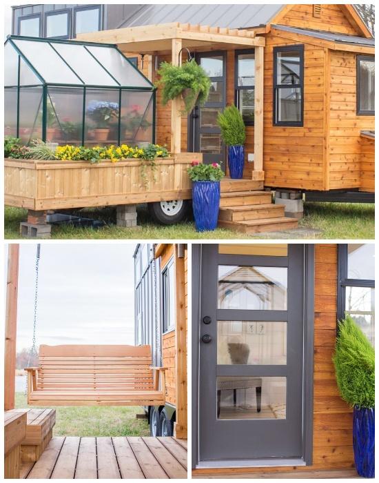 Между жилой частью и теплицей устанавливается терраса, которая служит входом и открытой верандой (дом-фургон «Эльза»). | Фото: youtube.com.