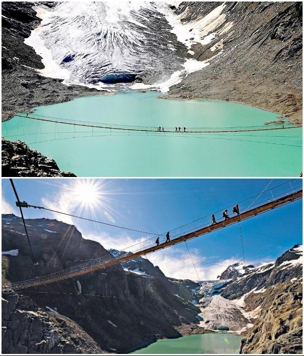 Благодаря этому подвесному мосту можно очень быстро добраться в Trift-Gletscher, расположенном в кантоне Вале. | Фото: bloganchoi.com/ livejournal.com.