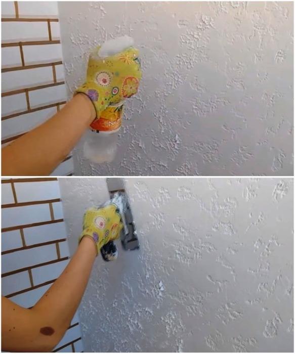 Чтобы не было слишком много острых краев и неровностей, нанесенную поверхность нужно смочить водой и немного разгладить. | Фото: youtube.com/ Анастасия Зайцева.