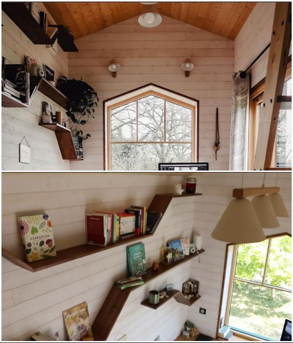 Полки для книг и комнатных цветов, а также оригинальные светильники Дэмиен сделал собственными руками. | Фото: instagram.com/ © vg.venus.
