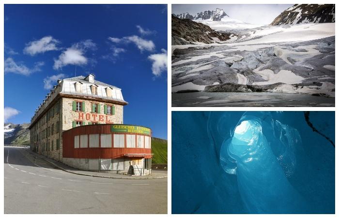 Старинный горный отель Belvedere на перевале Furka Pass возле ледника Рона (Альпы, Швейцария).