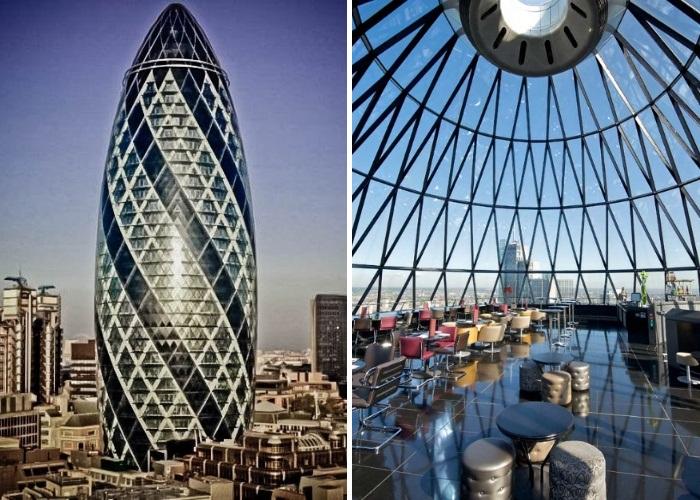 Под стеклянным куполом огромного «огурца» находиться ресторан с фантастическим панорамным обозрением (30 St Mary Axe, Лондон). | Фото: tripadvisor.co.uk.