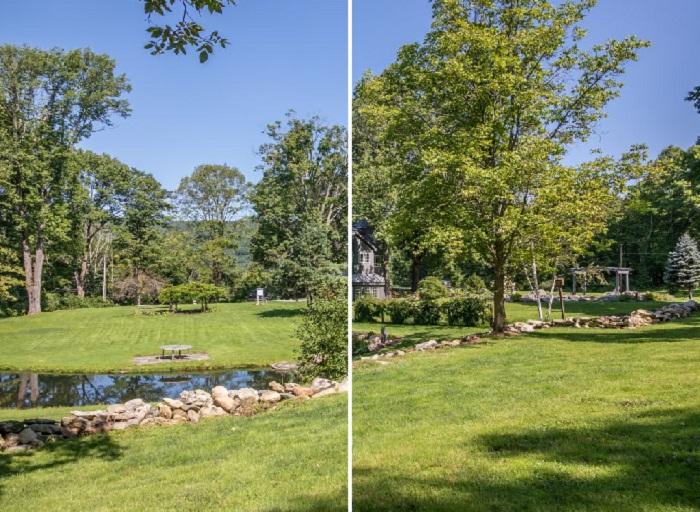 Дом расположен на большом участке земли, где нашлось место для зоны отдыха и летней беседке.