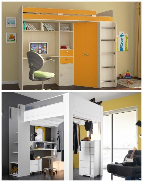 Двухъярусная организация рабочего места для школьника или кабинета для взрослых и спального места с помощью мебельной стенки.