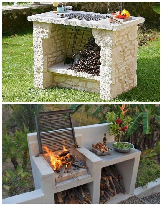 Мангал можно сделать как из камня, так и с бетонных плит. | Фото: cpykami.ru.