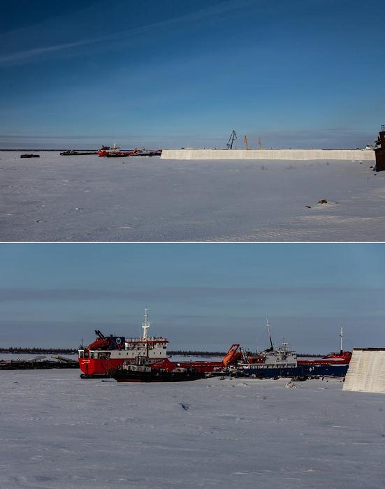 Перед ледоходом все суда спрячут за надежным щитом, созданным из 60 тыс. тонн замороженной воды (пос. Хатанга, Таймыр).