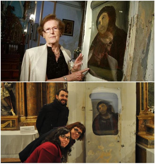 Автор реконструкции Сесилия Хименес и туристы, приехавшие в город на фотосессию возле фрески «Ecce Mono». | Фото: realt.onliner.by.