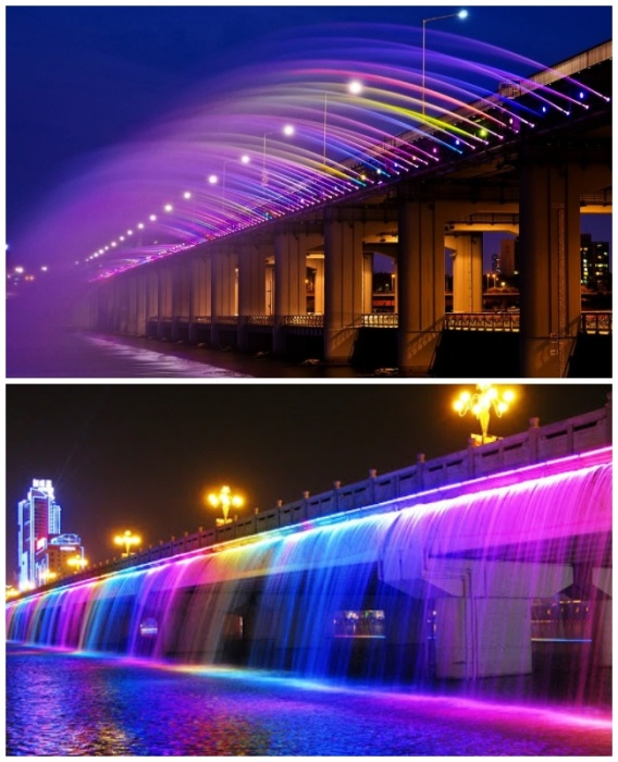 Фонтан «Банпо» не просто фонтан – это мост из воды всех цветов радуги. | Фото: ggneznakomka.livejournal.com/ yandex.ru.
