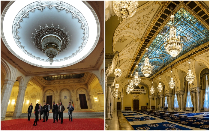 Люстры из натурального горного хрусталя стали главным украшением интерьера (Palatul Parlamentului, Бухарест).