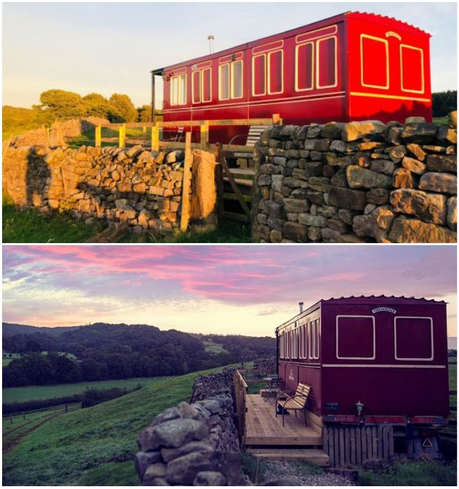 На просторах живописного Харрогейта появился отельный номер, напоминающий старинный вагон из состава «Летучий шотландец» («Flying Scotsman», Великобритания).   Фото: youtube.com/ © Caters Clips.