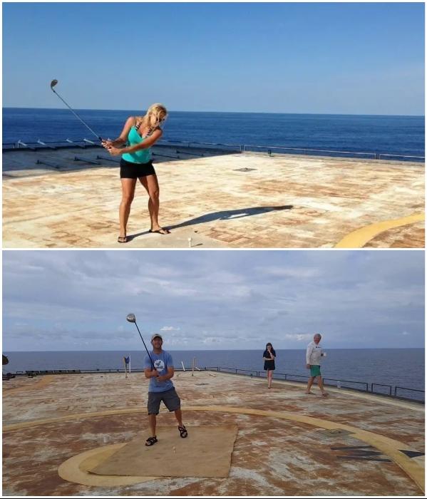 Игра в гольф посреди океана – незабываемое удовольствие («The Frying Pan Tower», США). | Фото: facebook.com/ © Frying Pan Tower.
