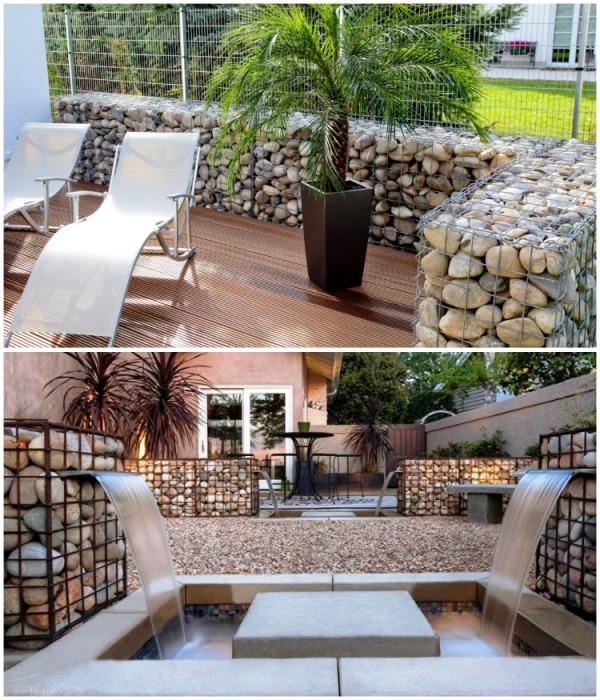 Габионы – идеальная конструкция для обустройства дачного участка. | Фото: gardeninghours.com.