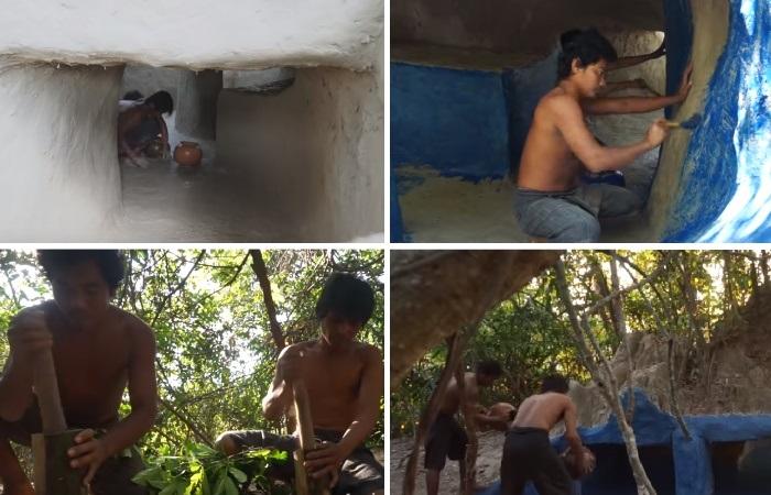 Для укрепления стен использовали ил, для покраски – природный краситель, а вот воду пришлось таскать кувшинами. | Фото: youtube.com/ © Jungle Builder.