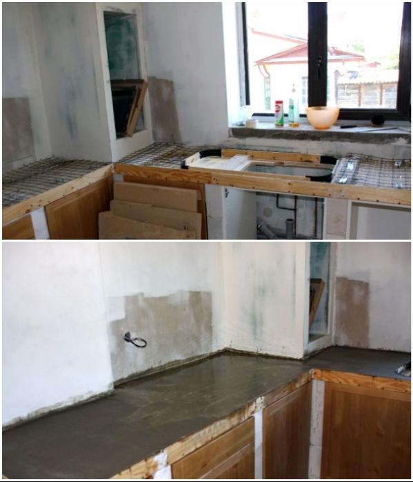 Этапы создания бетонной столешницы.   Фото: forumhouse.ru.