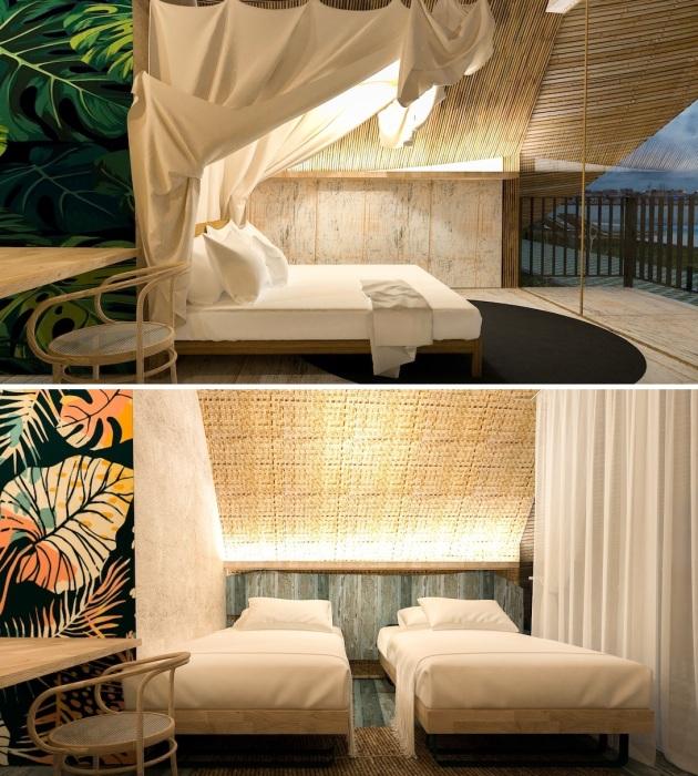 Центральное место в номере занимает спальная зона (концепт Bihing Tahik Resort).