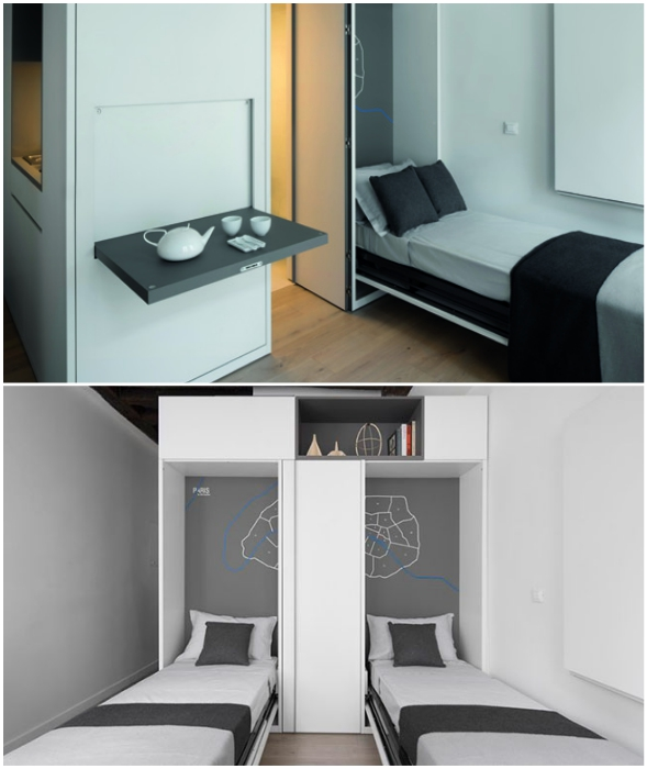 Обе кровати можно спрятать в модульный шкаф.