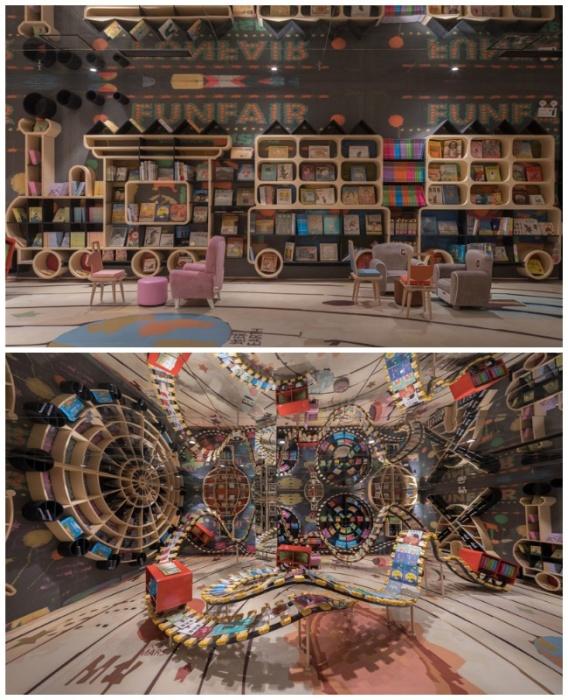 В детской зоне создали все для организации досуга и привлечению к чтению младшего поколения (Книжный магазин в Ханчжоу, Китай). | Фото: blogspot.com.