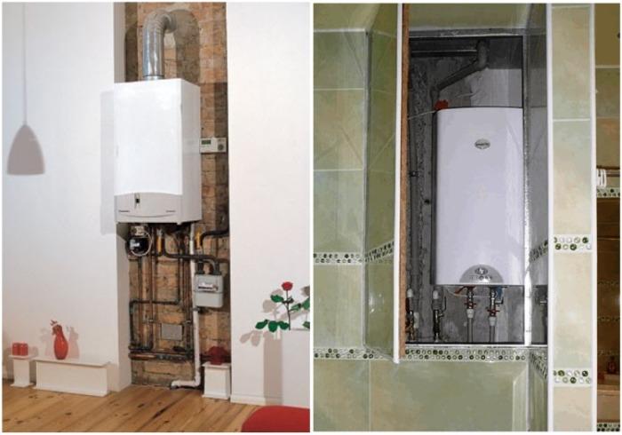 Для установки газового агрегата нишу можно сделать самостоятельно. | Фото: ideas.vdolevke.ru.