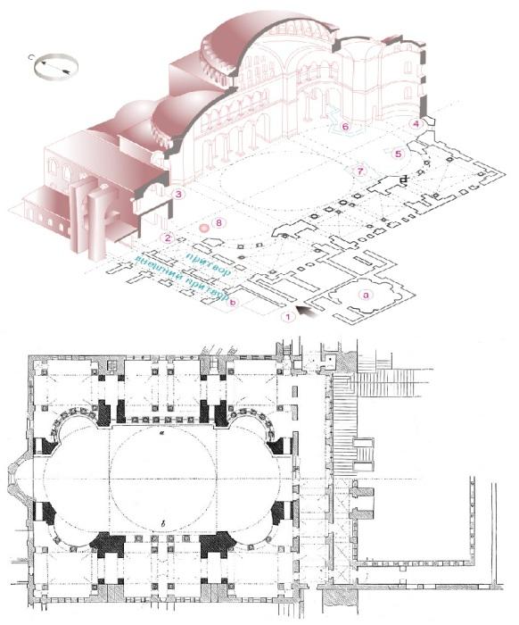 Макет и план-чертеж собора Святой Софии.