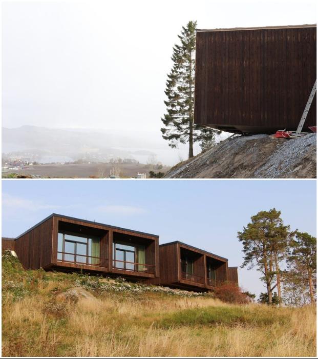 Темные фасады отельных номеров созданы из натурального дерева («Культурный ландшафт Эйны», Норвегия).