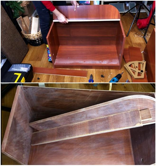 Обувницу нужно разобрать и все детали хорошенько ошкурить. | Фото: youtube.com/ © Ko_ milla.