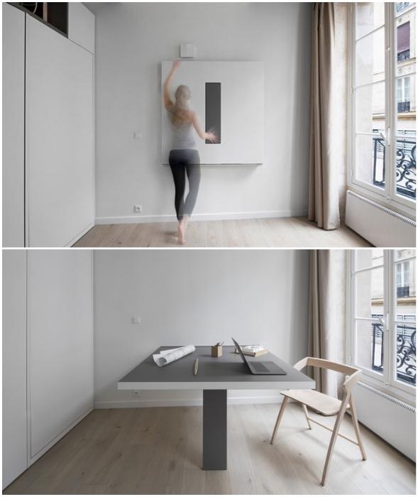 Легким движением руки арт-объект превращается в большой офисный стол.
