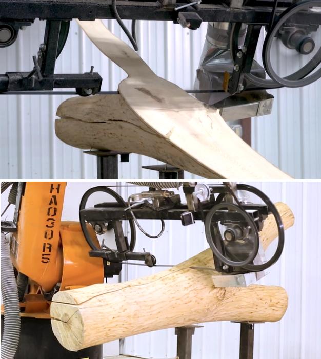 Перепрофилированный робот-манипулятор помог справиться с распилом поврежденной древесины ясеня. | Фото: dezeen.com.